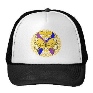 Bladder Cancer Butterfly Heart Ribbon Hat