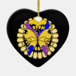 Bladder Cancer Butterfly Heart Ribbon Ceramic Heart Decoration