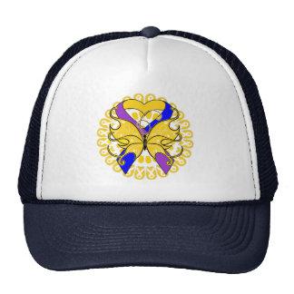 Bladder Cancer Butterfly Heart Ribbon Hats