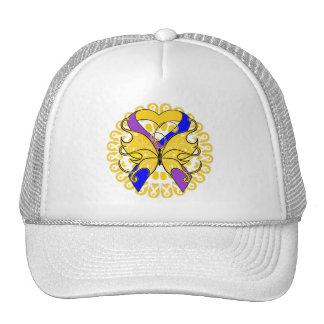 Bladder Cancer Butterfly Heart Ribbon Trucker Hats