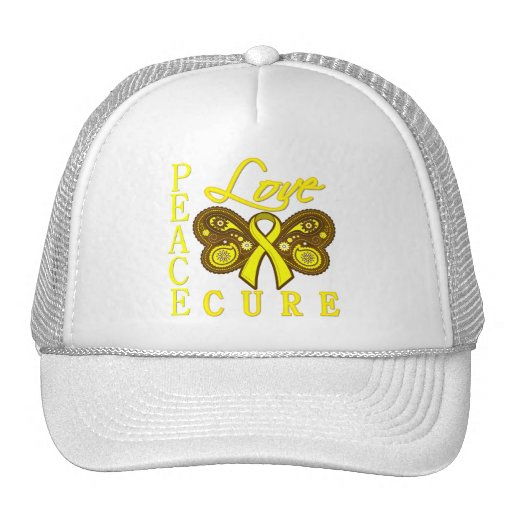 Bladder Cancer Butterfly Peace Love Cure Mesh Hat