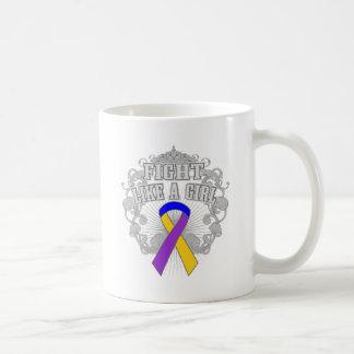 Bladder Cancer Fight Like A Girl Fleurish Coffee Mugs