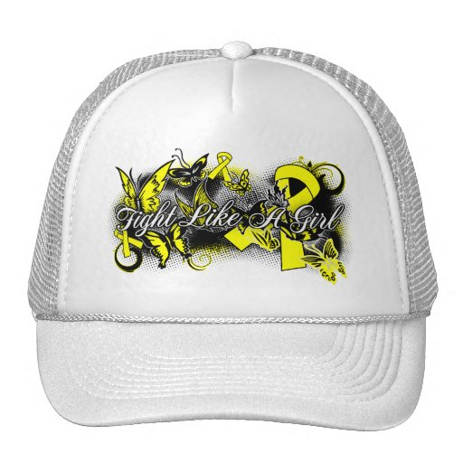 Bladder Cancer Fight Like A Girl Grunge Butterfly Mesh Hat