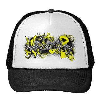 Bladder Cancer Fight Like A Girl Grunge Butterfly Trucker Hats