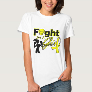 Bladder Cancer Fight Like A Girl Silhouette T Shirts
