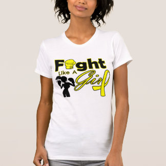 Bladder Cancer Fight Like A Girl Silhouette Tee Shirts