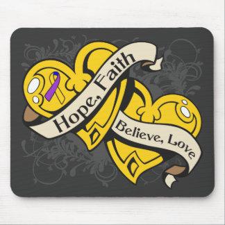 Bladder Cancer Hope Faith Dual Hearts Mouse Pads