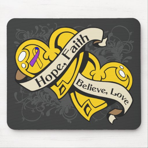 Bladder Cancer Hope Faith Dual Hearts Mouse Pads