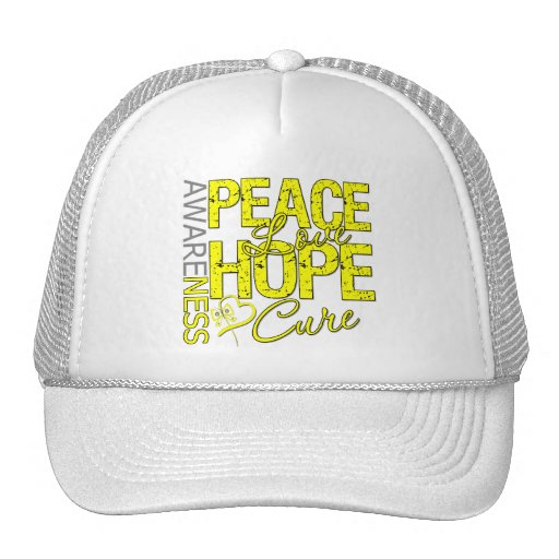 Bladder Cancer Peace Love Cure Hats