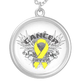 Bladder Cancer Survivor Grunge Winged Round Pendant Necklace