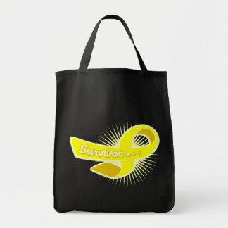 Bladder Cancer Survivor Ribbon Tote Bags
