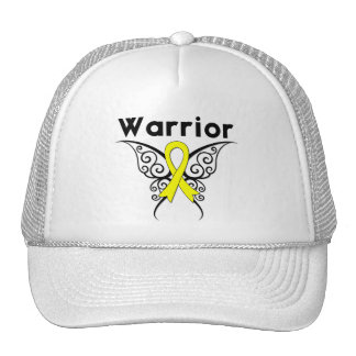 Bladder Cancer Warrior Tribal Butterfly Trucker Hats