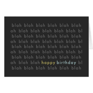 Blah Blah Blah Happy Birthday Typography Card