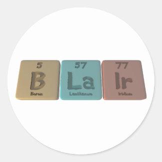 Blair as Boron Lanthanum Iridium Round Sticker