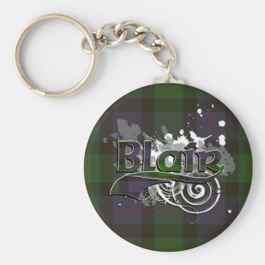 Blair Tartan Grunge Basic Round Button Key Ring