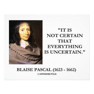 Blaise Pascal Not Certain Everything Is Uncertain 21.5 Cm X 28 Cm Flyer