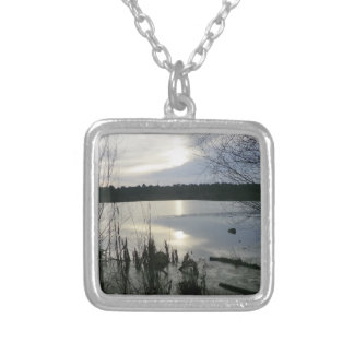 Blakemere Moss at Sunset in Delamere Forest Personalized Necklace