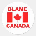 Blame Canada Round Stickers