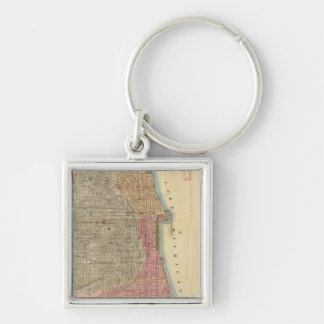Blanchard's guide map of Chicago Silver-Colored Square Key Ring