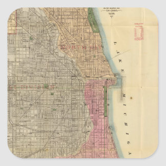 Blanchard's guide map of Chicago Square Sticker