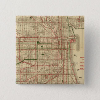 Blanchard's map of Chicago 15 Cm Square Badge