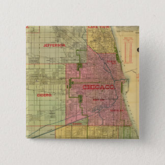 Blanchard's map of Chicago and environs 15 Cm Square Badge