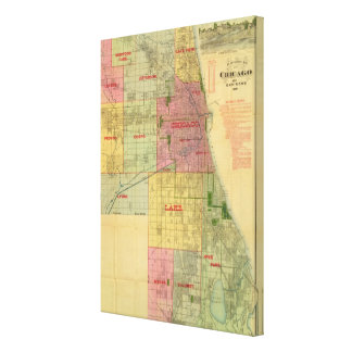 Blanchard's map of Chicago and environs Canvas Print