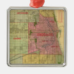Blanchard's map of Chicago and environs Silver-Colored Square Decoration