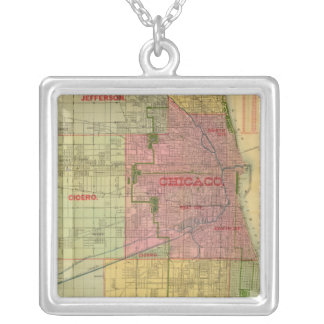 Blanchard's map of Chicago and environs Silver Plated Necklace