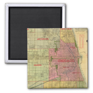 Blanchard's map of Chicago and environs Square Magnet