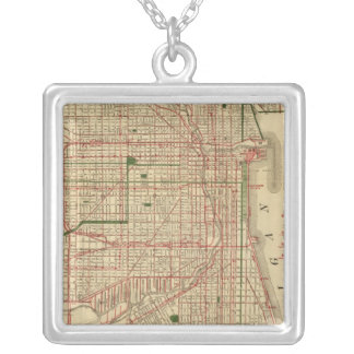 Blanchard's map of Chicago Silver Plated Necklace