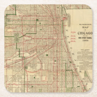 Blanchard's map of Chicago Square Paper Coaster