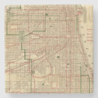 Blanchard's map of Chicago Stone Coaster