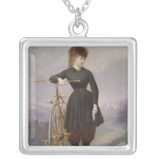 Blanche d'Antigny  and her Velocipede Silver Plated Necklace
