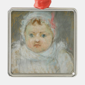Blanche Pontillon as a Baby, 1872 (pastel on paper Silver-Colored Square Decoration