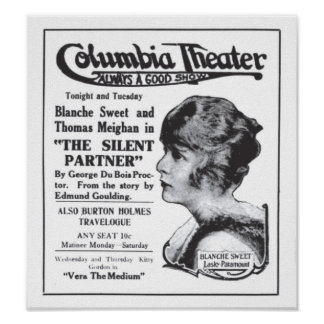 Blanche Sweet 1917 vintage movie ad poster