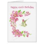 Blank 100th Birthday Cherry Blossom & Hummingbird Greeting Card