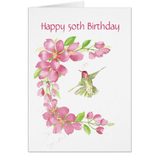 Blank 50th Birthday Cherry Blossom & Hummingbird Card