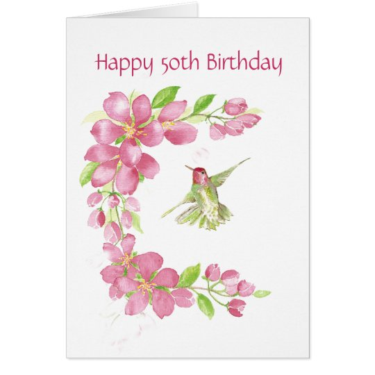 Blank 50th Birthday Cherry Blossom & Hummingbird Card