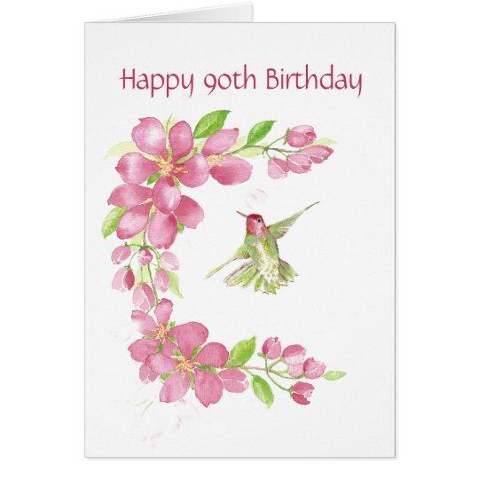 Blank 90th Birthday Cherry Blossom & Hummingbird Card