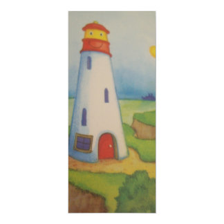 blank and red lighthouse 10 cm x 24 cm invitation card