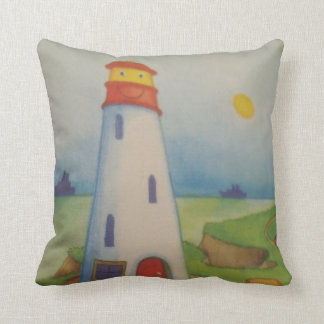 blank and red lighthouse throw pillows