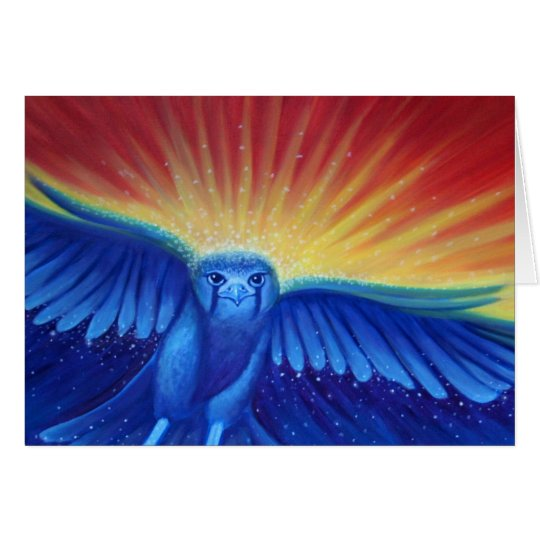 Blank Art greeting card, original art hawk Card