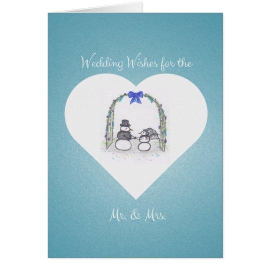 Blank Blue Winter Wedding Greeting Card