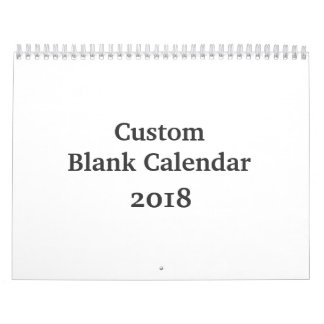 Blank Calendar 2018 - Custom With Holidays