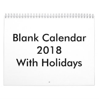 Blank Calendar 2018 With Holidays