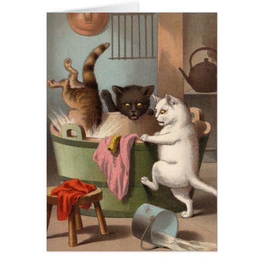 Blank card - Naughty Cat series - Cats Washday