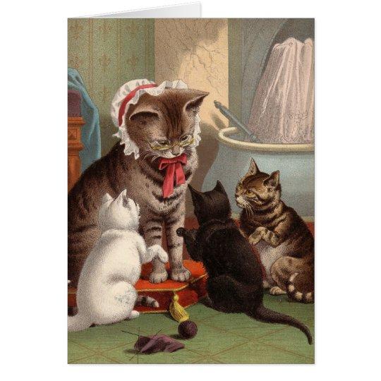 Blank card - Naughty Cat series - Knitting