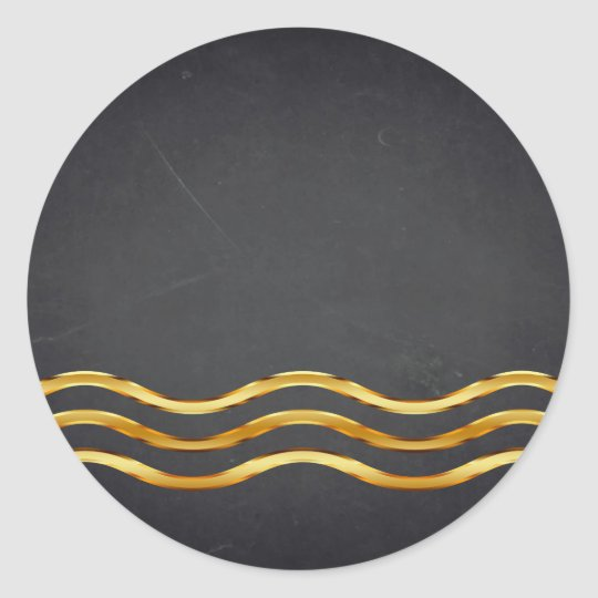 Blank Chalkboard Gold Striped Curved Customise Classic Round
