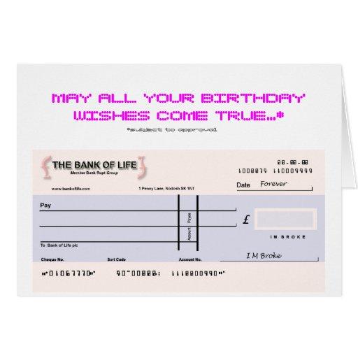 Blank Check Birthday Card